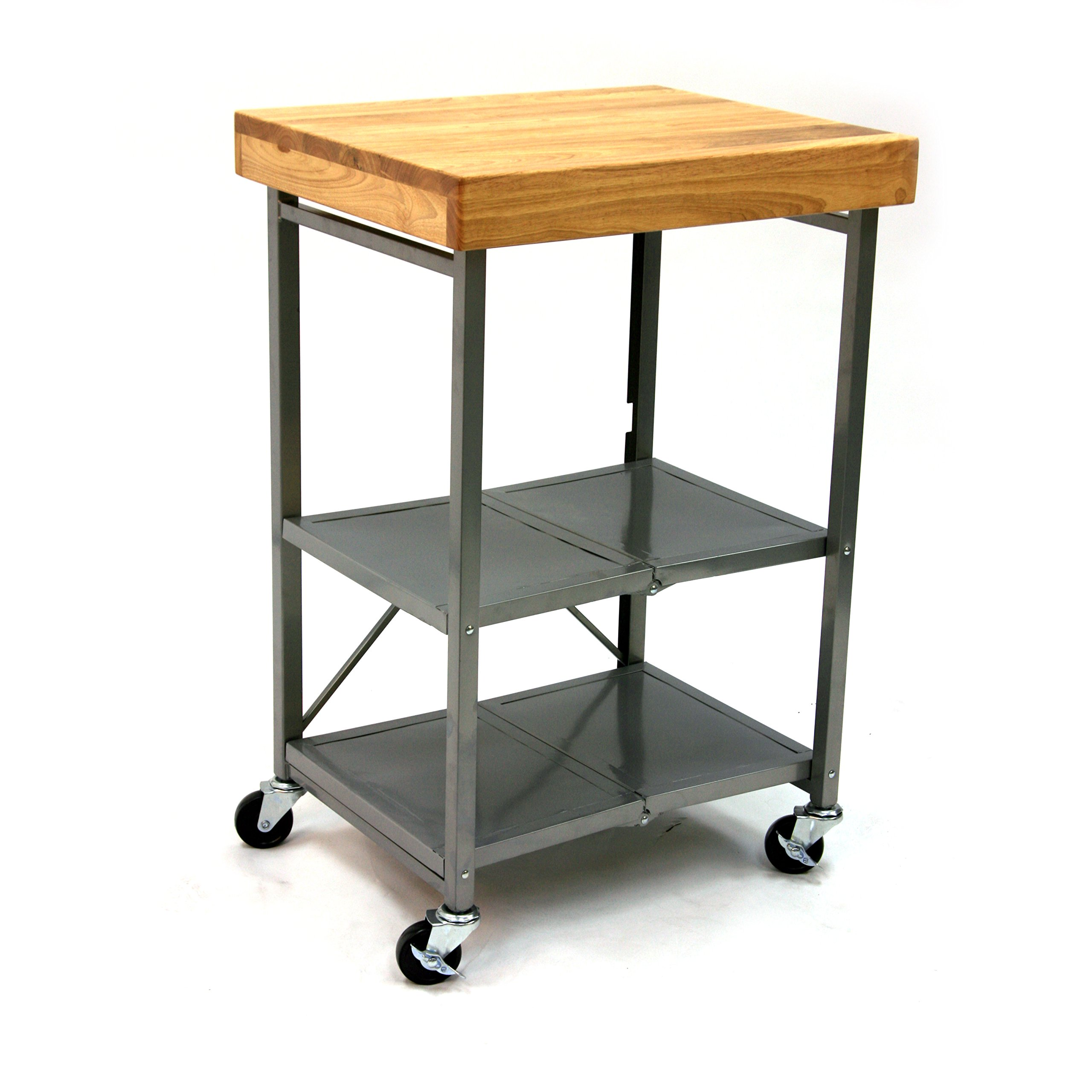 Origami Foldable Rolling Kitchen Island Cart, Food Serving Cart, 3-Tier Storage Shelf with Wood Top, Microwave Stand, Heavy Duty, Silver by Origami (Image #8)