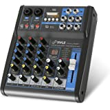 Pyle Professional Audio Mixer Sound Board Console System Interface 4 Channel Digital USB Bluetooth MP3 Computer Input 48V Pha