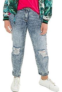 28bfda6794fb1 Studio Untold Women s Plus Size Pearl Hem Destroy Effect Boyfriend Jeans  716434
