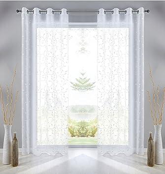 163068497b7a05 Gardine Ösen Schal Blatt Weiß Vorhang Pompei Relief Stickerei Transparent  Raffhalter 2er-Pack HxB 245x140