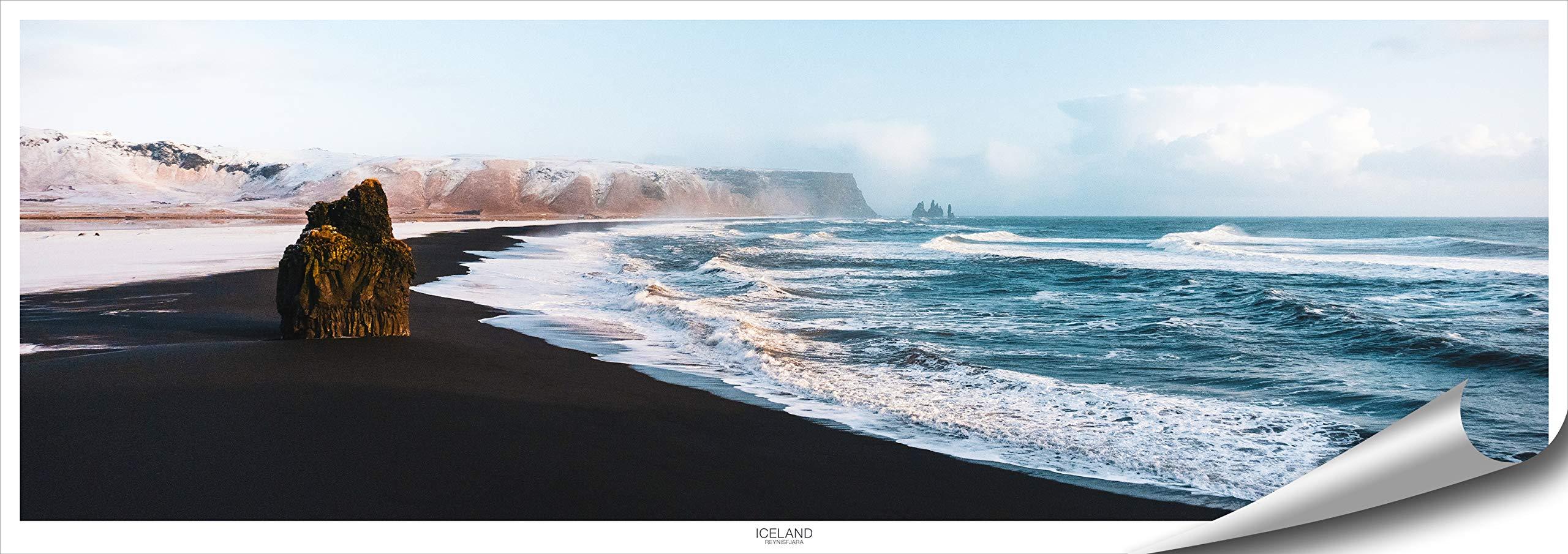 ARTBAY Iceland Poster HD XXL - Panorama - Art Print - 46.8 x 16.5 Inch (118.8 x 42 cm) | Black Beach, Reynisfjara | Sea | Landscape | Nature Poster | Premium Quality