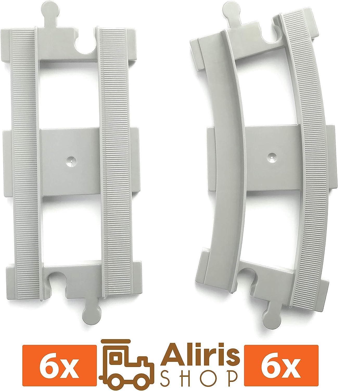 6 Vías Curvadas - 6 Vías Rectas - Gris Claro - Extensión Accesorios Compatibles con Tren de Marca Líder de Bloques de Construcción