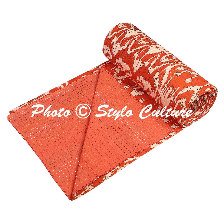 IndianベッドスプレッドツインKanthaスロー毛布オレンジコットンIkat Hand Stitched寝具ベッドカバーby Stylo文化 B078RS2ZZS