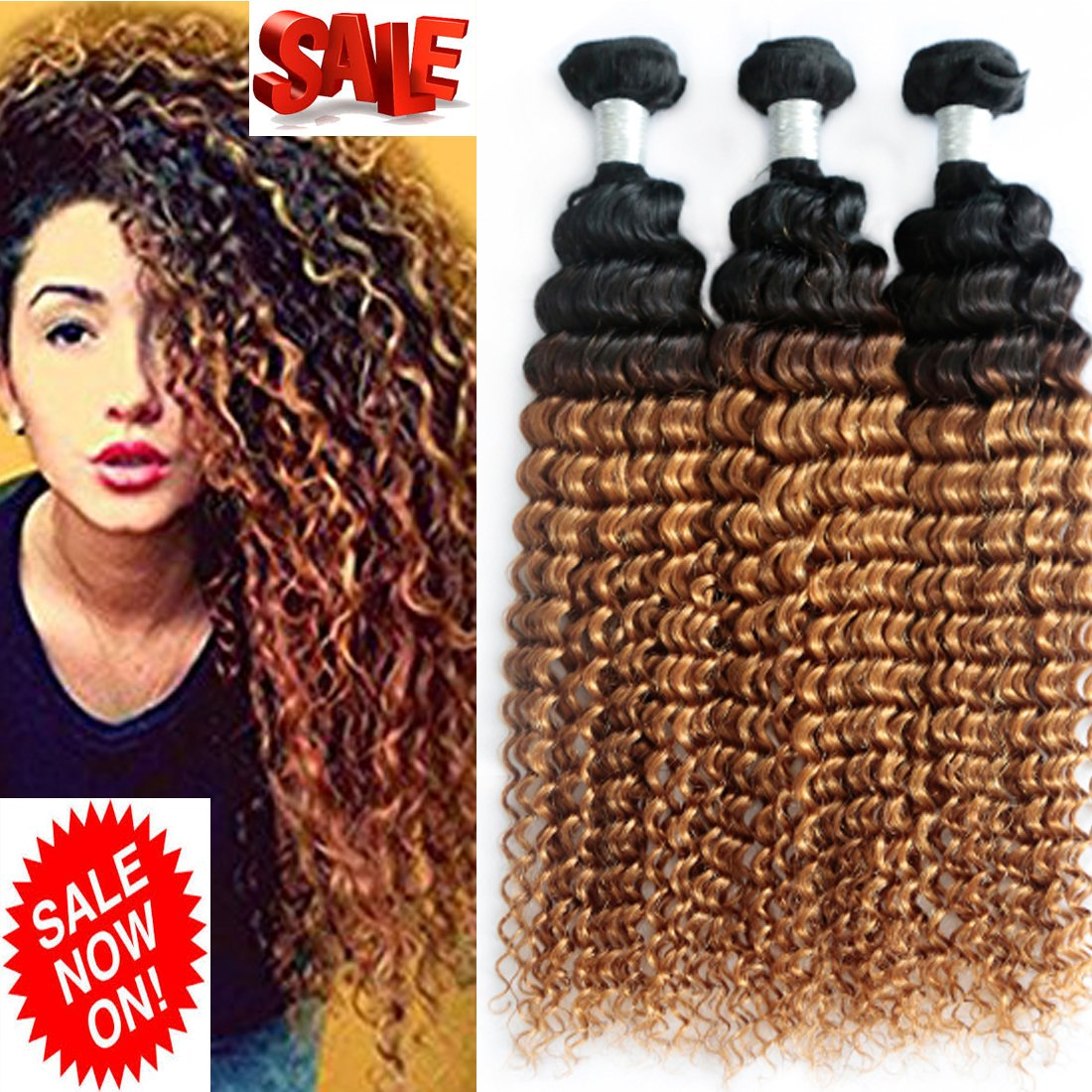 8a Ombre Brazilian Deep Wave Virgin Hair Weave 3 Bundles Wet And