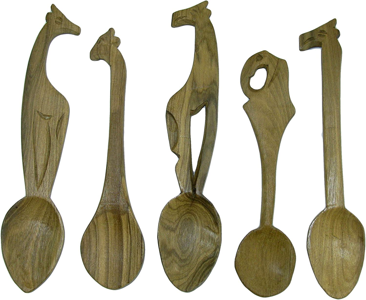15 cm Spoons Elephant Giraffe Lion etc The Friendly Trading Co Set of 5 Wildlife theme African Handcrafted wooden Teaspoons 6 inch