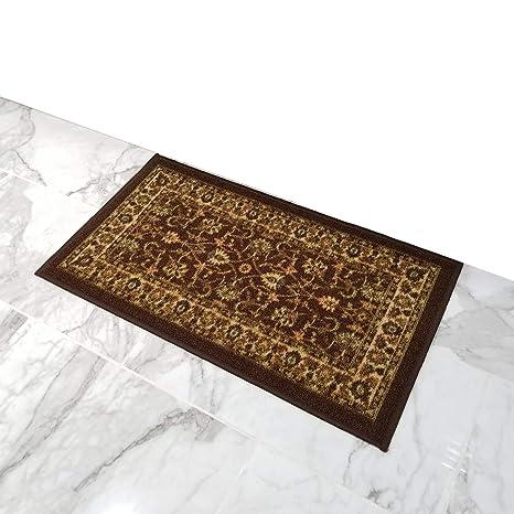 Doormat 18x30 Brown Traditional Kitchen Rugs and mats | Rubber Backed Non  Skid Rug Living Room Bathroom Nursery Home Decor Under Door Entryway Floor  ...