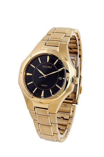 Seiko SGEF66P1 - Reloj analógico de Cuarzo para Hombre con Correa de Acero Inoxidable, Color Dorado: Seiko: Amazon.es: Relojes