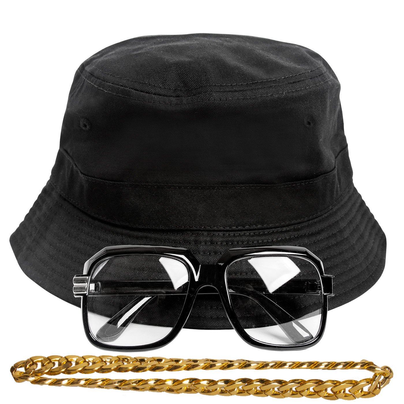 Gravity Trading 90s Hip-Hop Gold Chain Costume Kit (Bucket Hat + Sunglass + Gold Chain) Black S/M