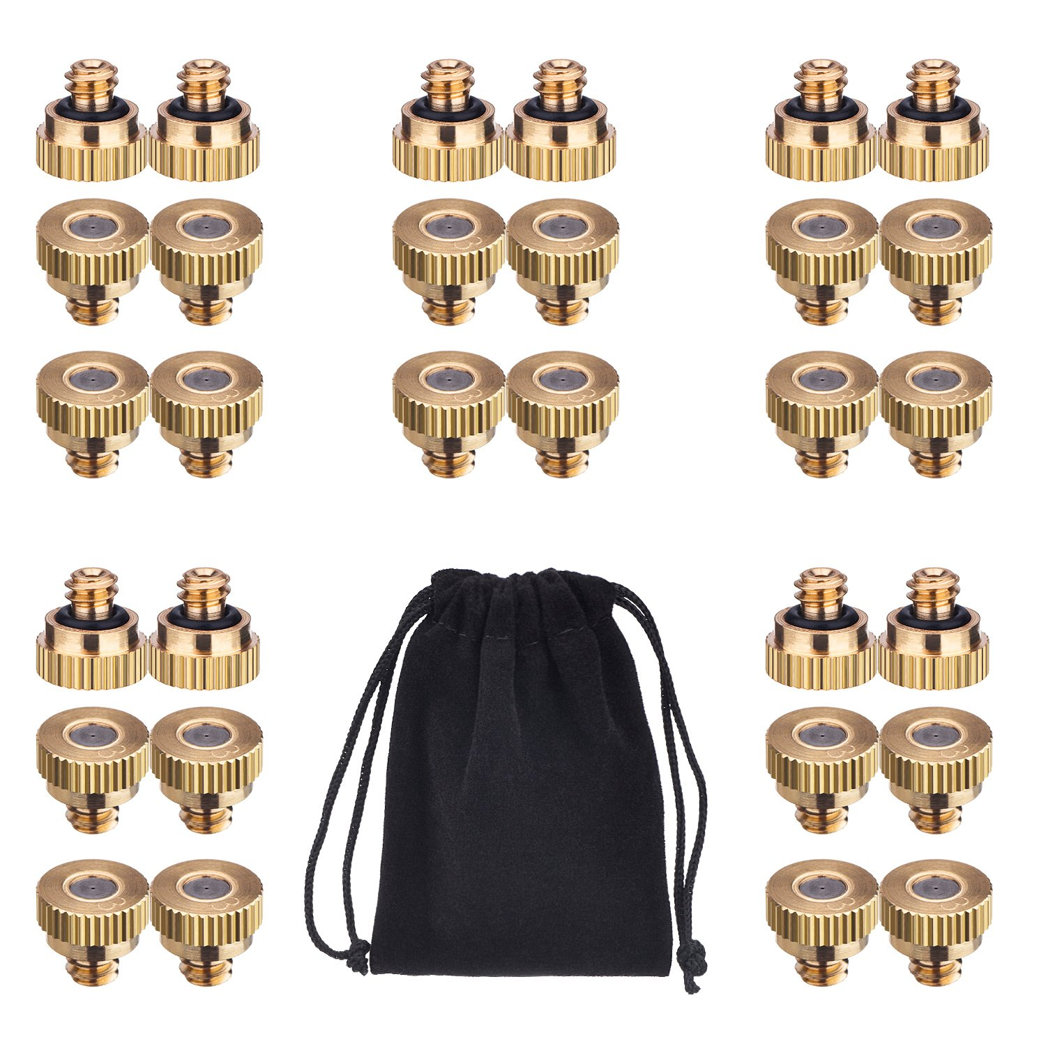 Mudder 30 Pack Misting Nozzles Brass Misting Nozzle for Greenhouse Landscaping Dust Control and Outdoor Cooling System, 10/24 UNC