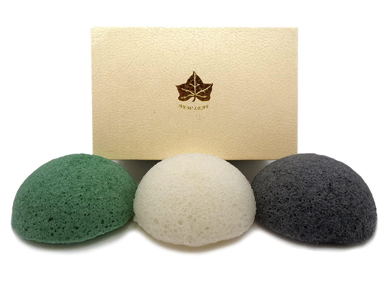 3 Pack of Charcoal, Green Tea, White Konjac Sponges in Ivory Gift Box New Leaf Products Ltd