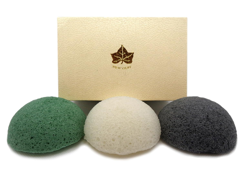 3 Pack of Charcoal, Green Tea, White Konjac Sponges in Black Gift Box New Leaf Products Ltd