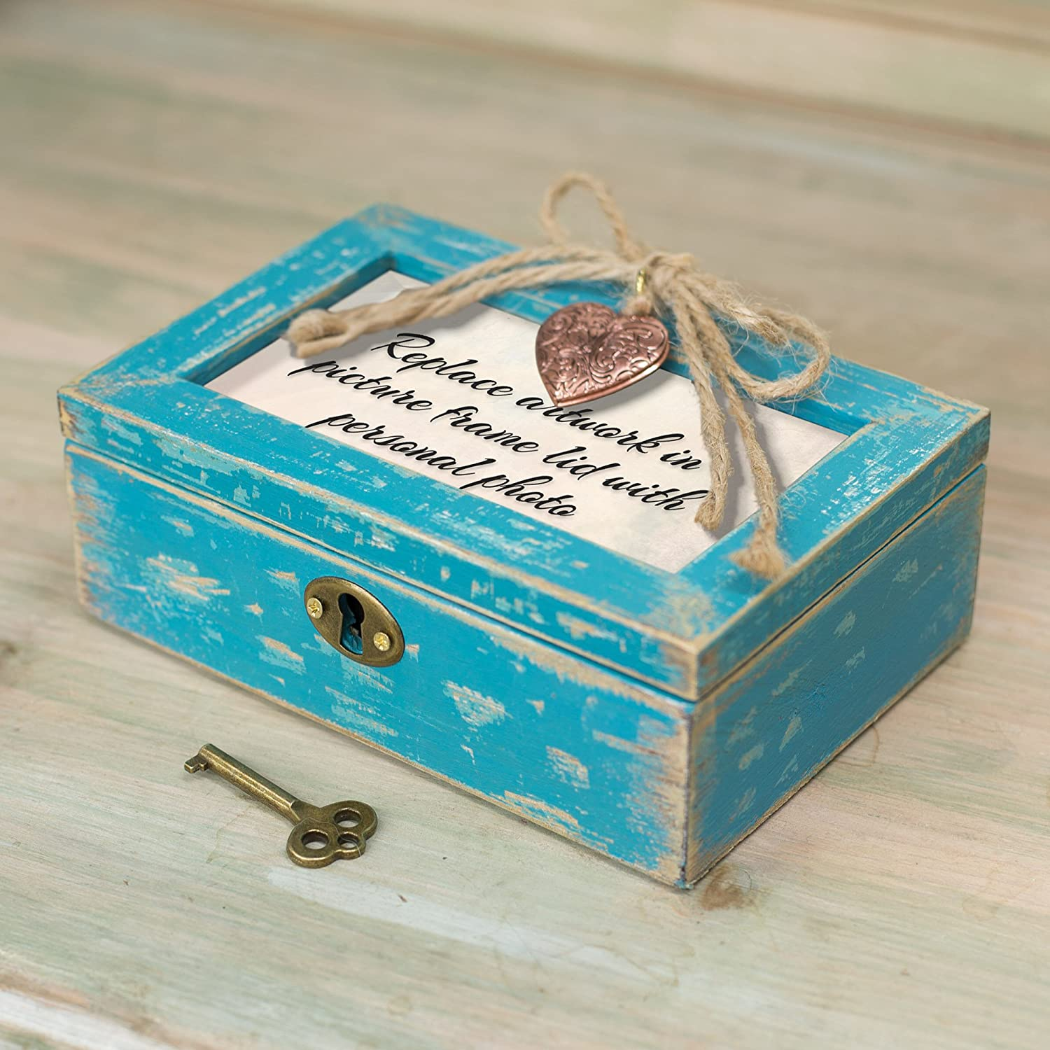 Cottage Garden Glory of Friendship Teal Locket Petite Music Box Plays Thats What Friends are for