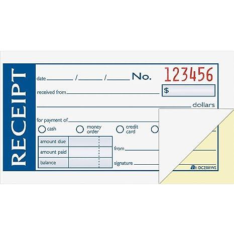 abfdc2501ws adams moneyrent receipt book