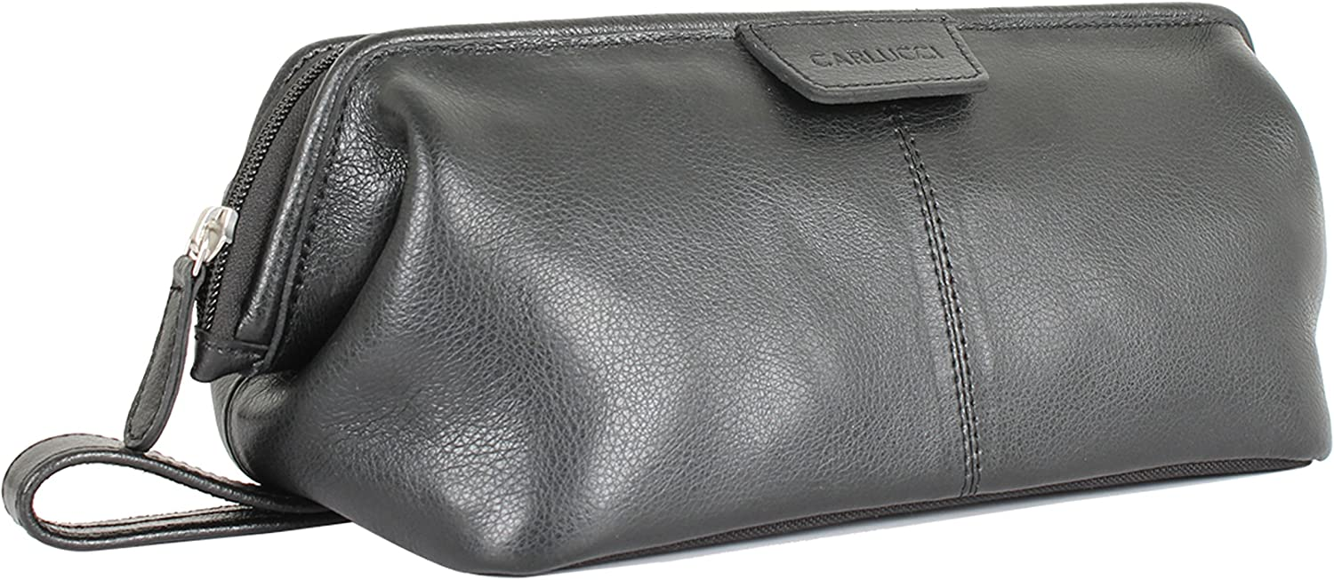 Carlucci Leather Original Leather Toiletry Bag for Men. Stylish Black Dopp Kit with Large Opening, Easy Durable Zipper, Rich Genuine Cowhide, Waterproof Bottom. In Tan or Black