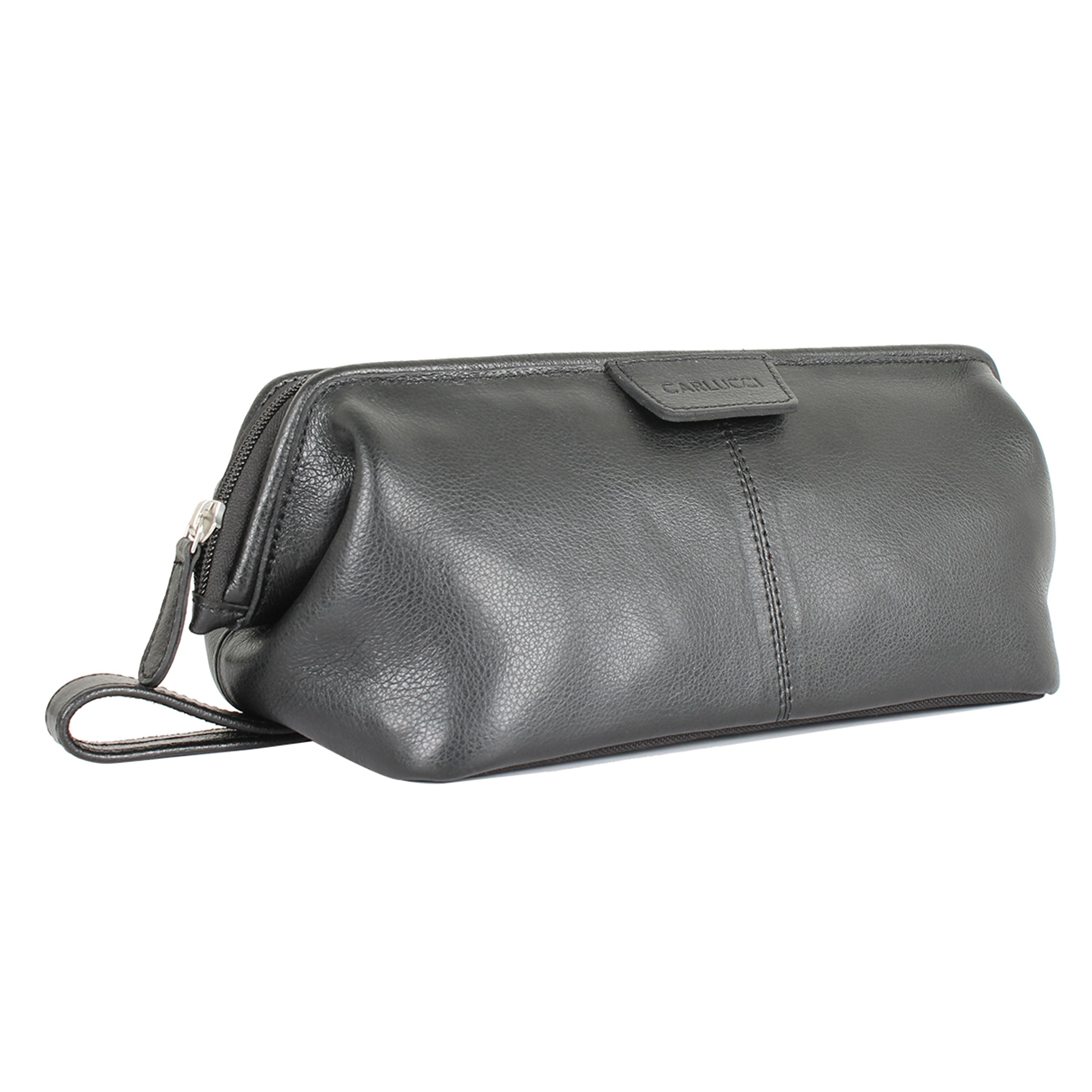 Carlucci Leather Original Leather Toiletry Bag for Men. Stylish Black Dopp Kit with Large Opening, Easy Durable Zipper, Rich Genuine Cowhide, Waterproof Bottom. In Black