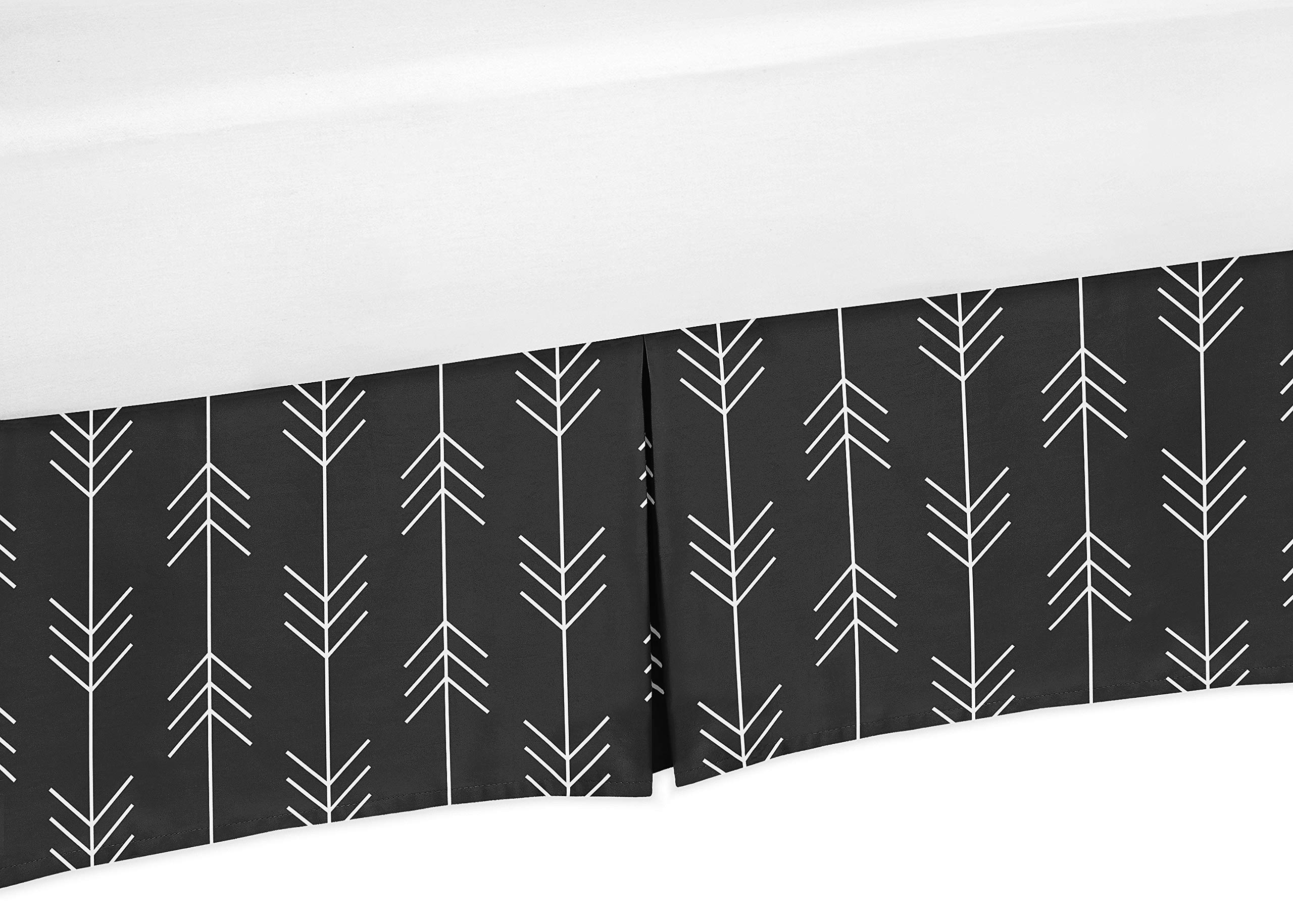 Sweet Jojo Designs Black and White Woodland Arrow Pleated Toddler Bed Skirt Dust Ruffle for Rustic Patch Collection by Sweet Jojo Designs