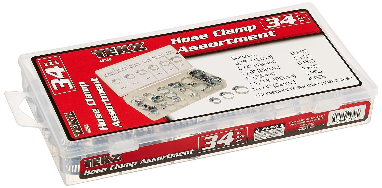 34 Piece Tekz 45348 Hose Clamp Assortment