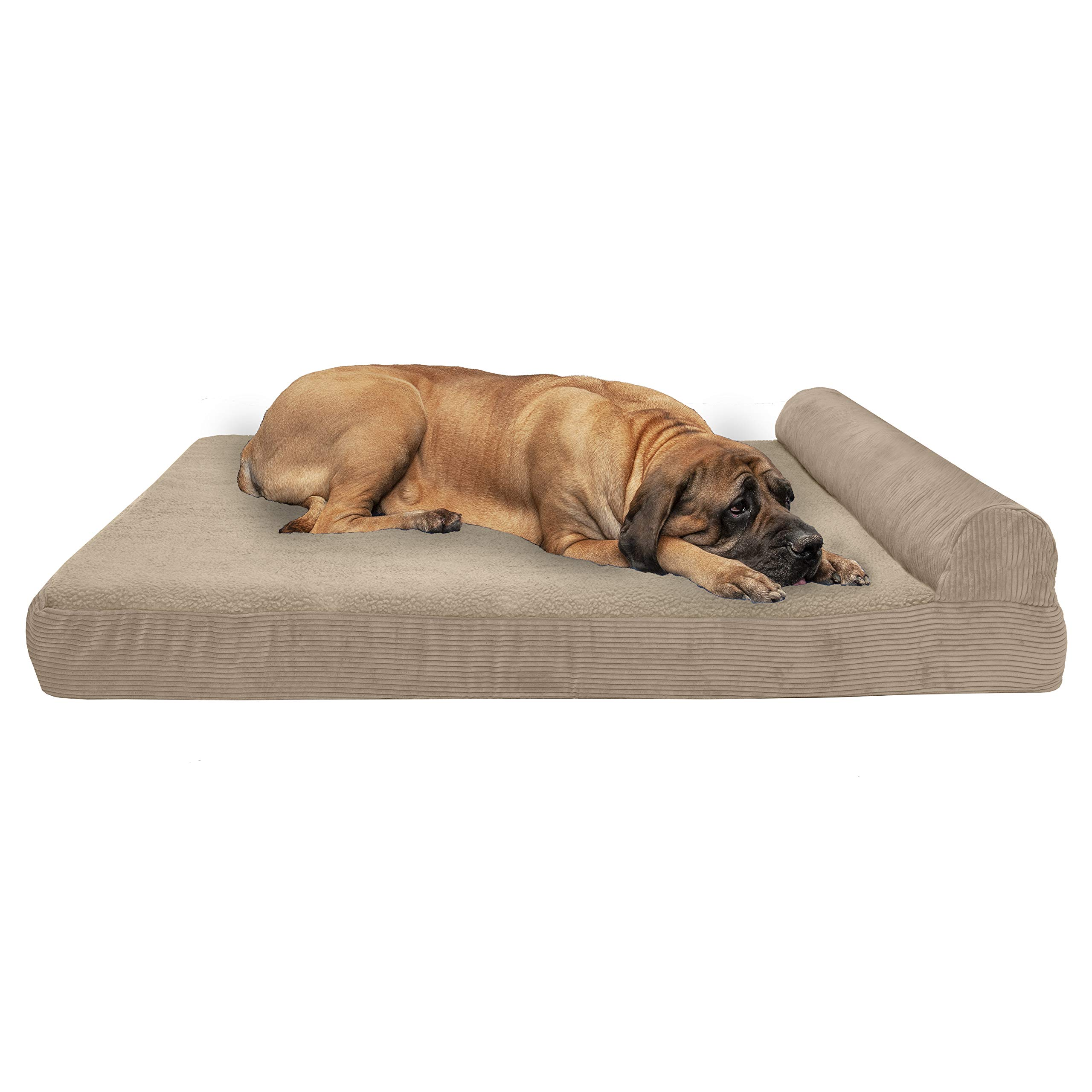 Furhaven Pet Dog Bed | Deluxe Orthopedic Faux Fleece & Corduroy Chaise Lounge Living Room Couch Pet Bed w/ Removable Cover for Dogs & Cats, Sandstone, Jumbo Plus by Furhaven