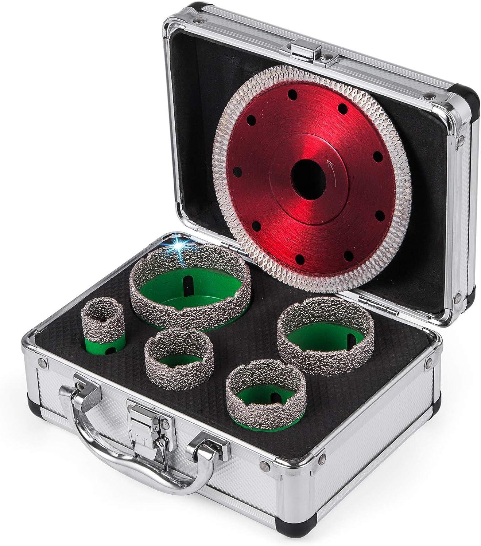 Mophorn Juego de Brocas Diamante Sierra Agujeros de Diamante 5 PCS Brocas M14 22//35//40//50//65 mm Hoja de Sierra