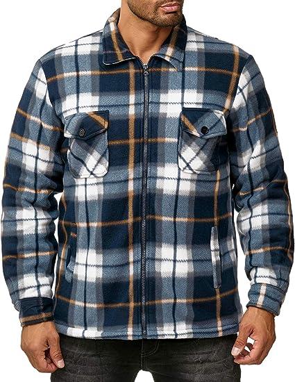 Shelikes Camicia termica trapuntata da uomo in pile Sherpa foderato in pelliccia di Lumberjack con cappuccio a quadri