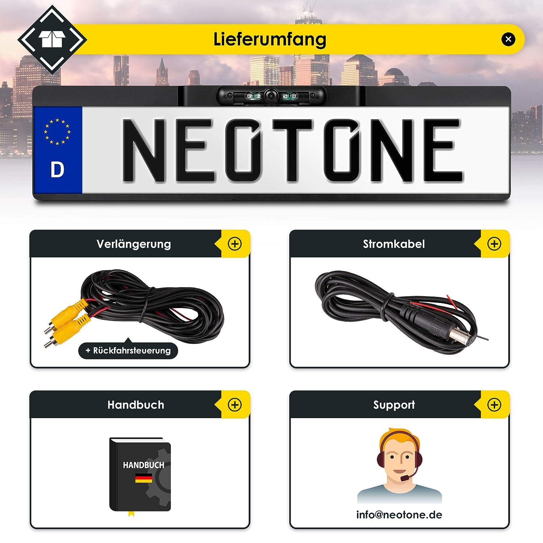 170/° Weitwinkelobjektiv H/öchste Qualit/ät | IP68 Feuchtigkeitsschutz NEOTONE NTK-180Z universelle R/ückfahrkamera in Kennzeichenhalterung