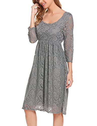 UNibelle Damen Umstands-Kleid - 3 4 Ärmel Sommerkleid Grau S  Amazon.de   Bekleidung 2f7f530d21