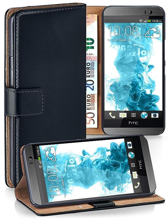 moex HTC One M9   Hülle Schwarz mit Karten-Fach 360° Book Klapp-Hülle Handytasche Kunst-Leder Handyhülle für HTC One M9 Case