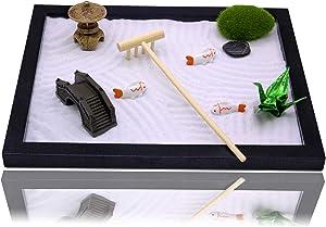Blevla Zen Garden for Desk with Rake, Japanese Mini Meditation Zen Sand Garden Kit - Relaxation & Meditation Gift