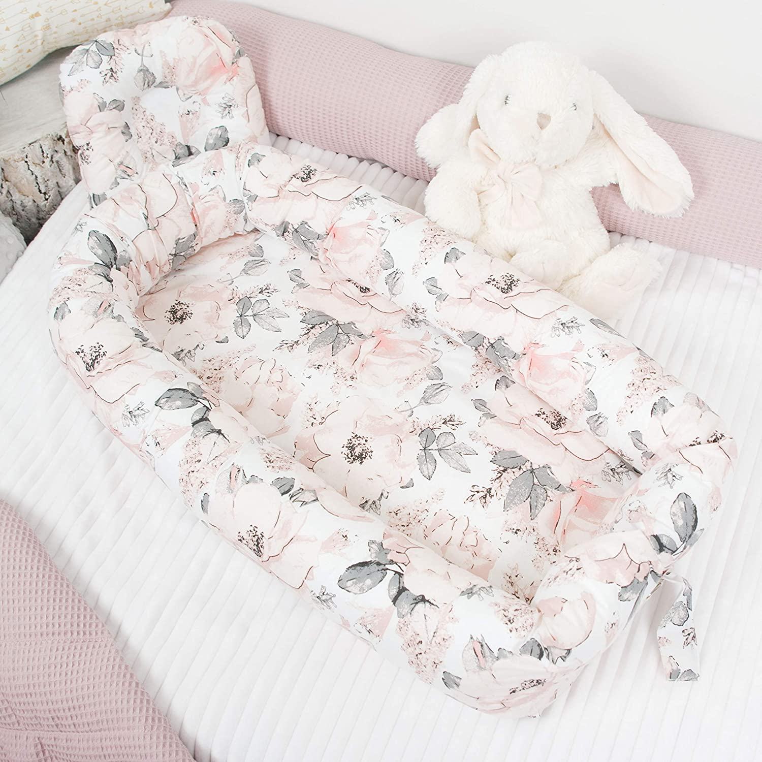 B07GBDG378 Roses Baby nest with removable cover, flowers toddler size nest bed portable crib lounger baby bassinet co sleeper babynest grand bed travel pad pod for newborn co sleeping 8142CP7t3xL