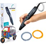 SCRIB3D Advanced 3D Printing Pen with Display - Includes Advanced 3D Printing Pen, 3 Starter Colors of PLA Filament Stencil B