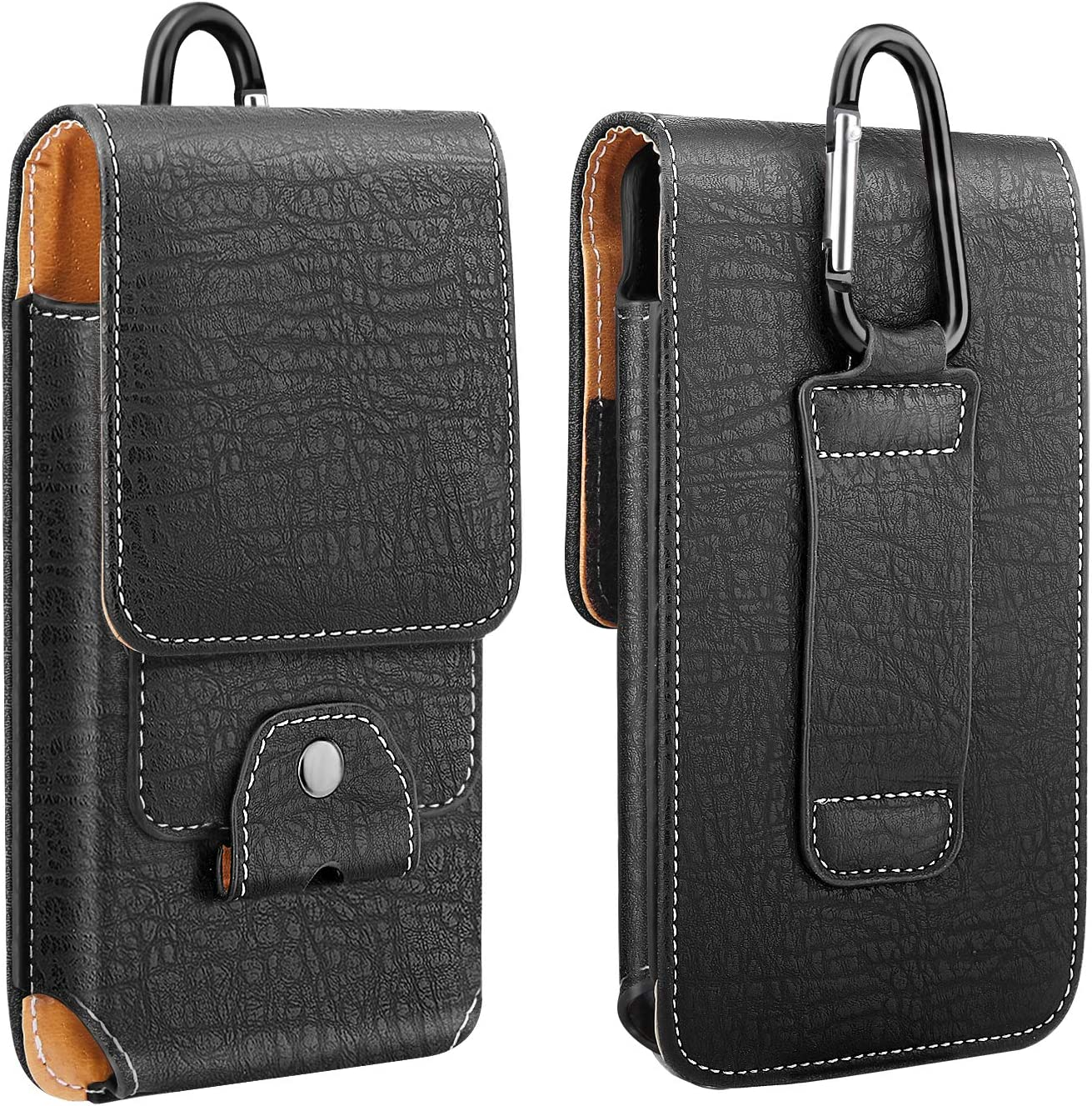 Samsung Galaxy Note 10//S10e//S10//S10 Plus iPhone 11 Pro//11//11 Pro Max//Xs Max//XR//Xs//X Black PU Leather Belt Loop Case Pouch Cover with Carabiner Card Slot Fit 6.5 Phone MoKo Phone Holster