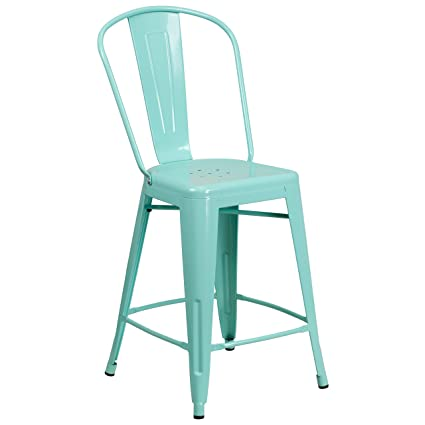 Flash Furniture 24u0027u0027 High Mint Green Metal Indoor Outdoor Counter Height  Stool With