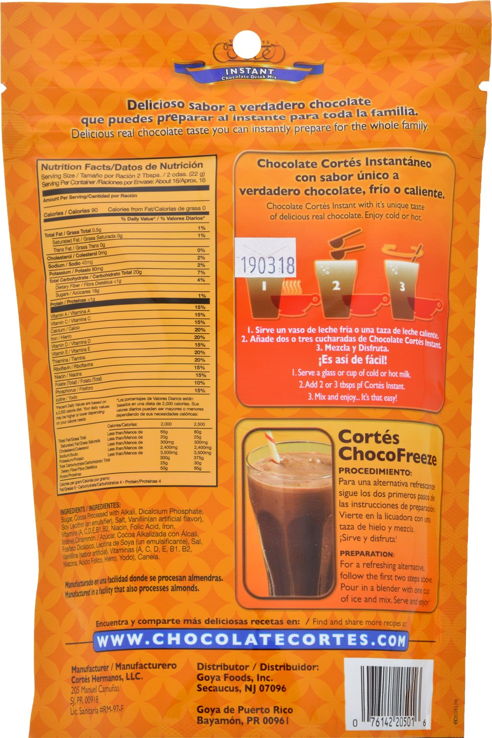 Goya Foods Cortés Instant Chocolate Drink Mix, 12 Ounce