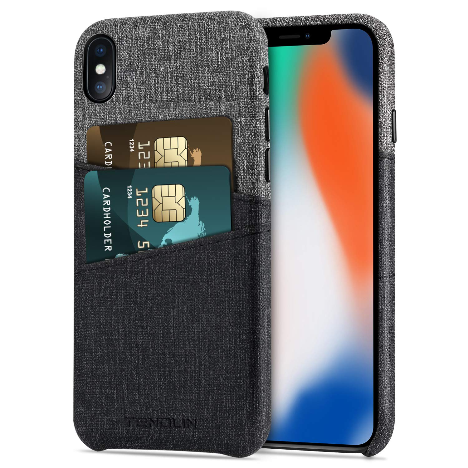 meet 3efc9 a4b9c TENDLIN for iPhone X Wallet Case Good Grip Leather Case with 2 Card Holder  Slots Compatible with iPhone X/iPhone Xs
