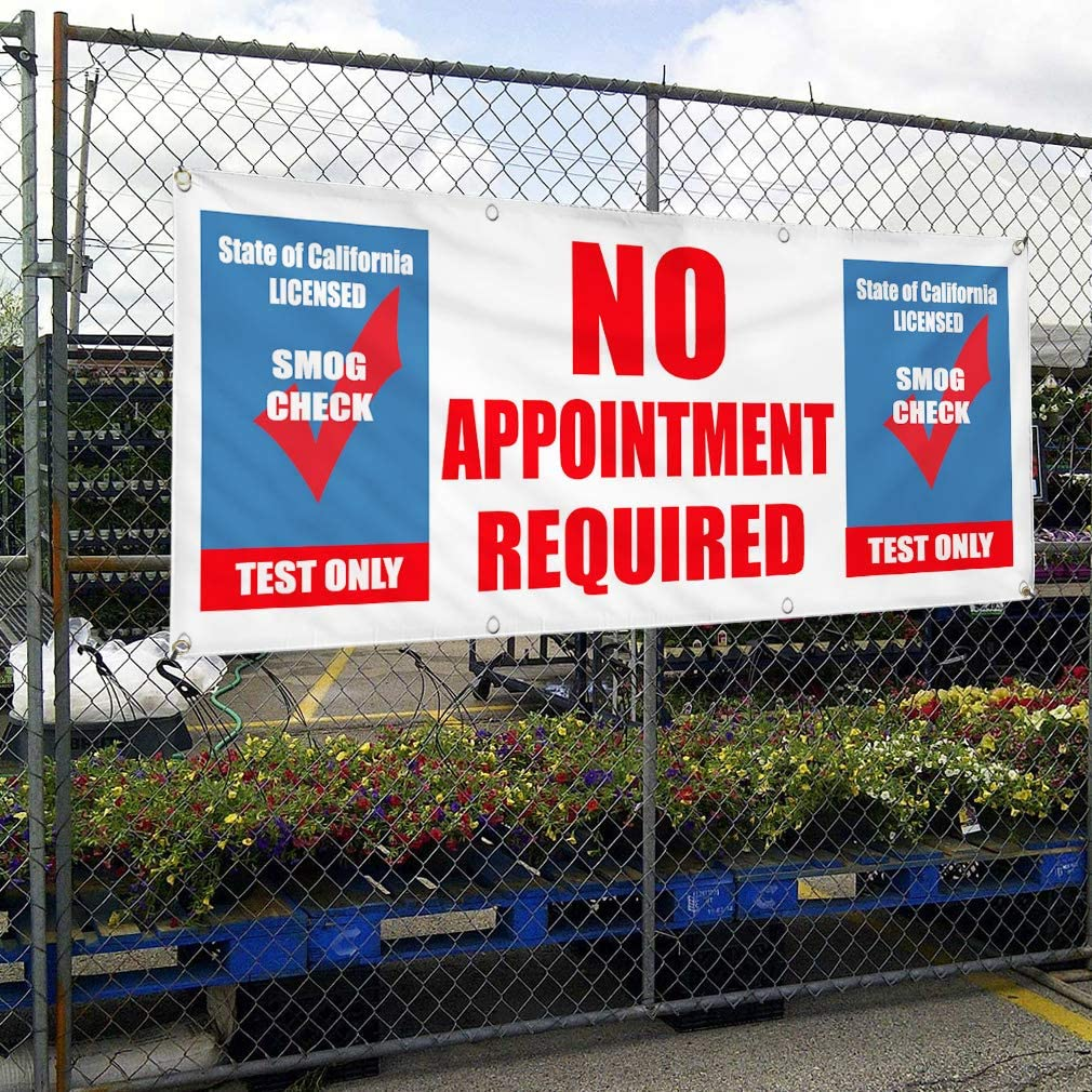 Vinyl Banner Multiple Sizes No Appointment Required Smog Check Test Automotive Outdoor Weatherproof Industrial Yard Signs Blue 10 Grommets 60x144Inches