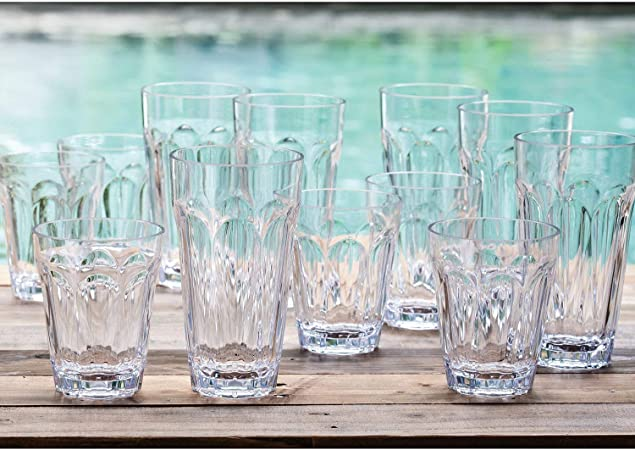 Tritan Highball And Dof Tumbler Set 12 Pack Clear Mixed Drinkware Sets Amazon Com