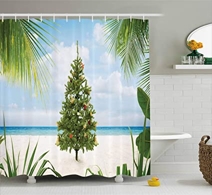 Island Christmas Theme.Ambesonne Christmas Shower Curtain Tree With Tinsel And Ornaments Tropical Island Sandy Beach Party Theme Cloth Fabric Bathroom Decor Set With