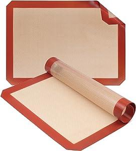 UPHOMLIFE Silicone Baking Mats, Non-Stick - Half Sheet Professional Food Safe Grade, Set of 2, 16.5