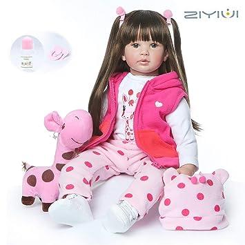 ZIYIUI Muñeca Reborn 24 Pulgada Bebé Reborn Niña Suave Silicona Vinilo Realista Reborn Baby Doll Niño Magnetismo Juguetes Bebes munecos Reborn Reales ...