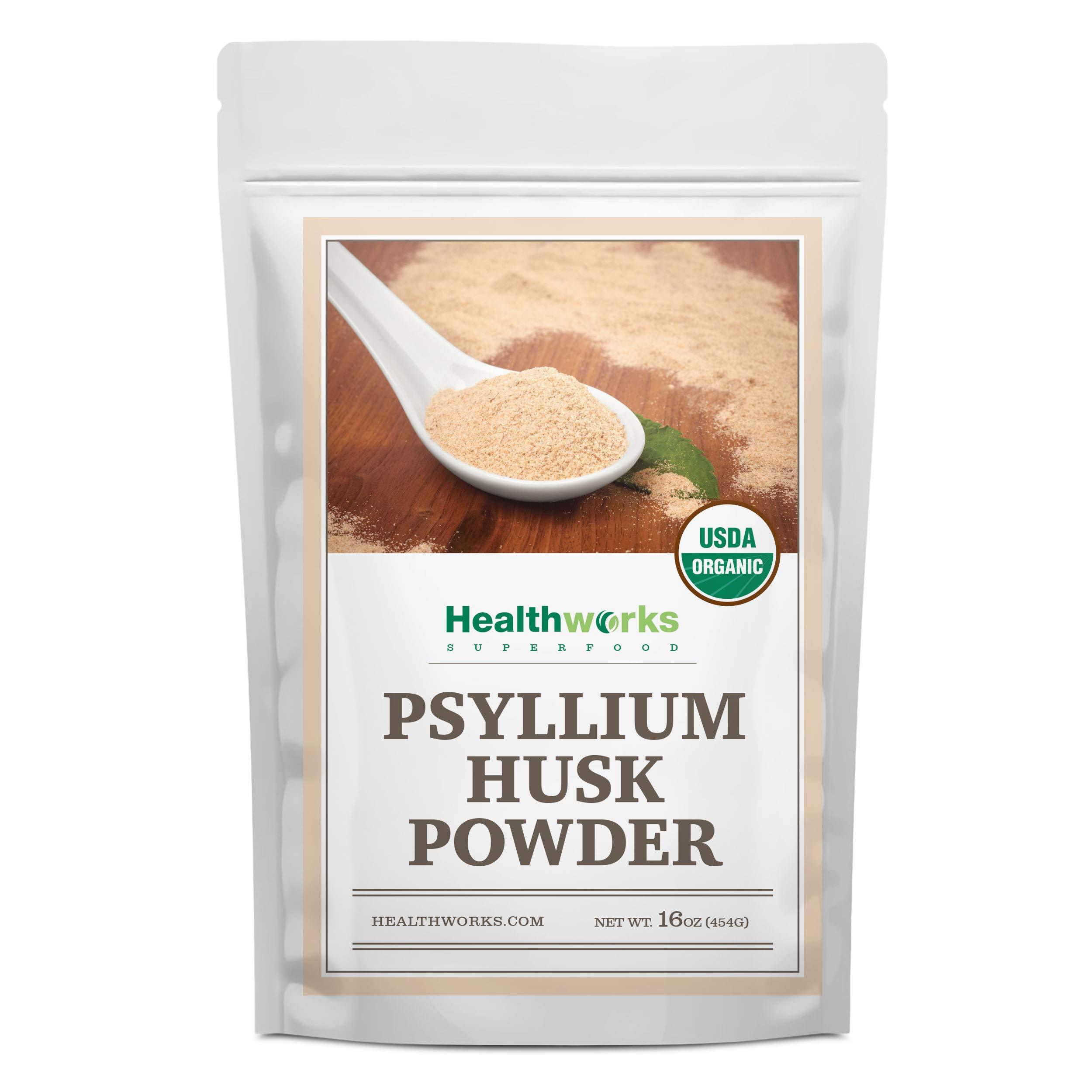 Healthworks Psyllium Husk Powder (16 Ounces / 1 Pound) | Raw | Certified Organic | Finely Ground Powder from India | Keto, Vegan & Non-GMO | Fiber Support by Healthworks