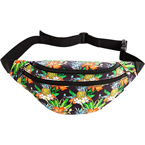 95632b5a35ce Mochil Fanny Pack - Cute Waist Belt Bag for Men, Women, Kids | Tropical  Floral Fun Pattern for Running, Hiking, Raves (Mahalo)