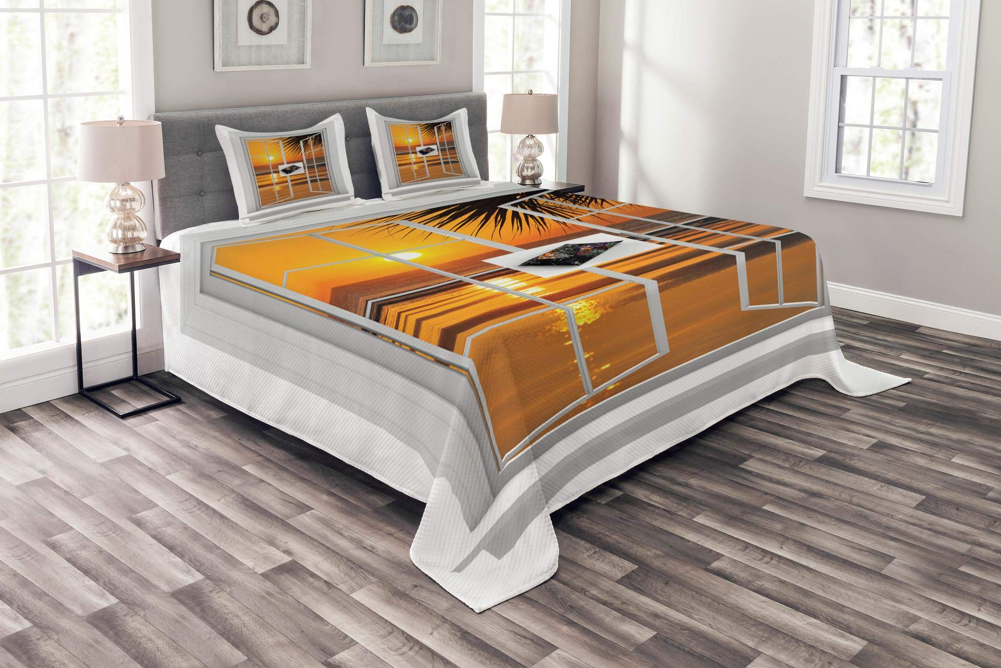 Ambesonne Ocean Bedspread Set Queen Size, Open Window with an Ocean Sunset View Sky Tropics Nature Vacation Romantic Art Print, Decorative Quilted 3 Piece Coverlet Set with 2 Pillow Shams, Apricot
