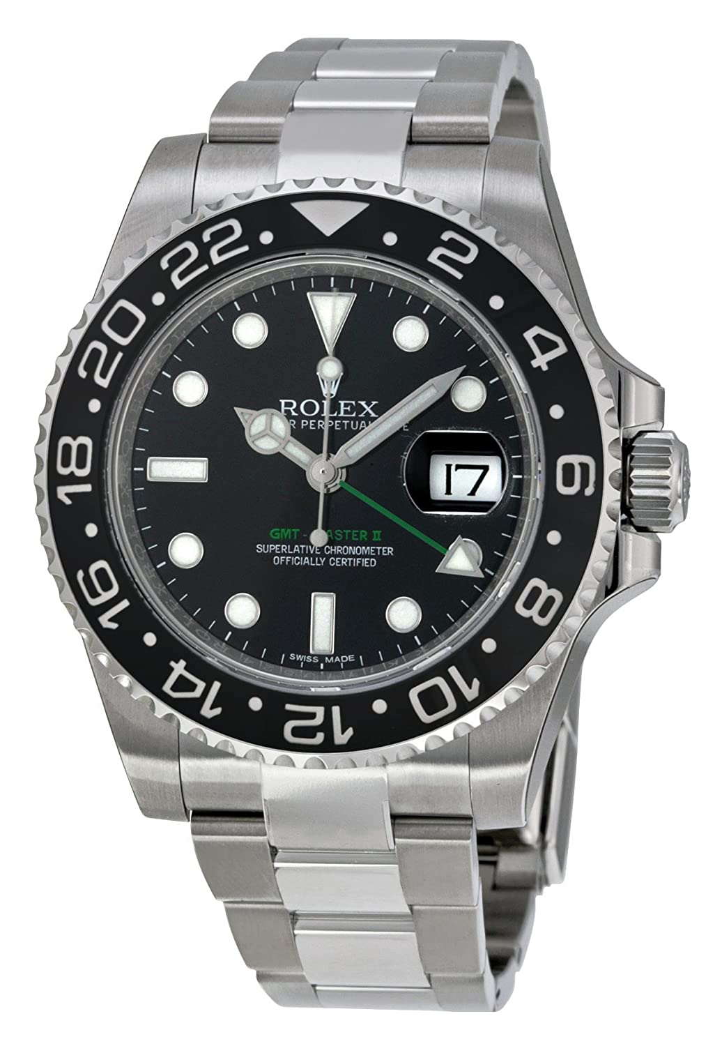 6d798190647 Amazon.com  Rolex GMT Master II Black Index Dial Oyster Bracelet Steel Mens  Watch 116710BKSO  Rolex  Watches