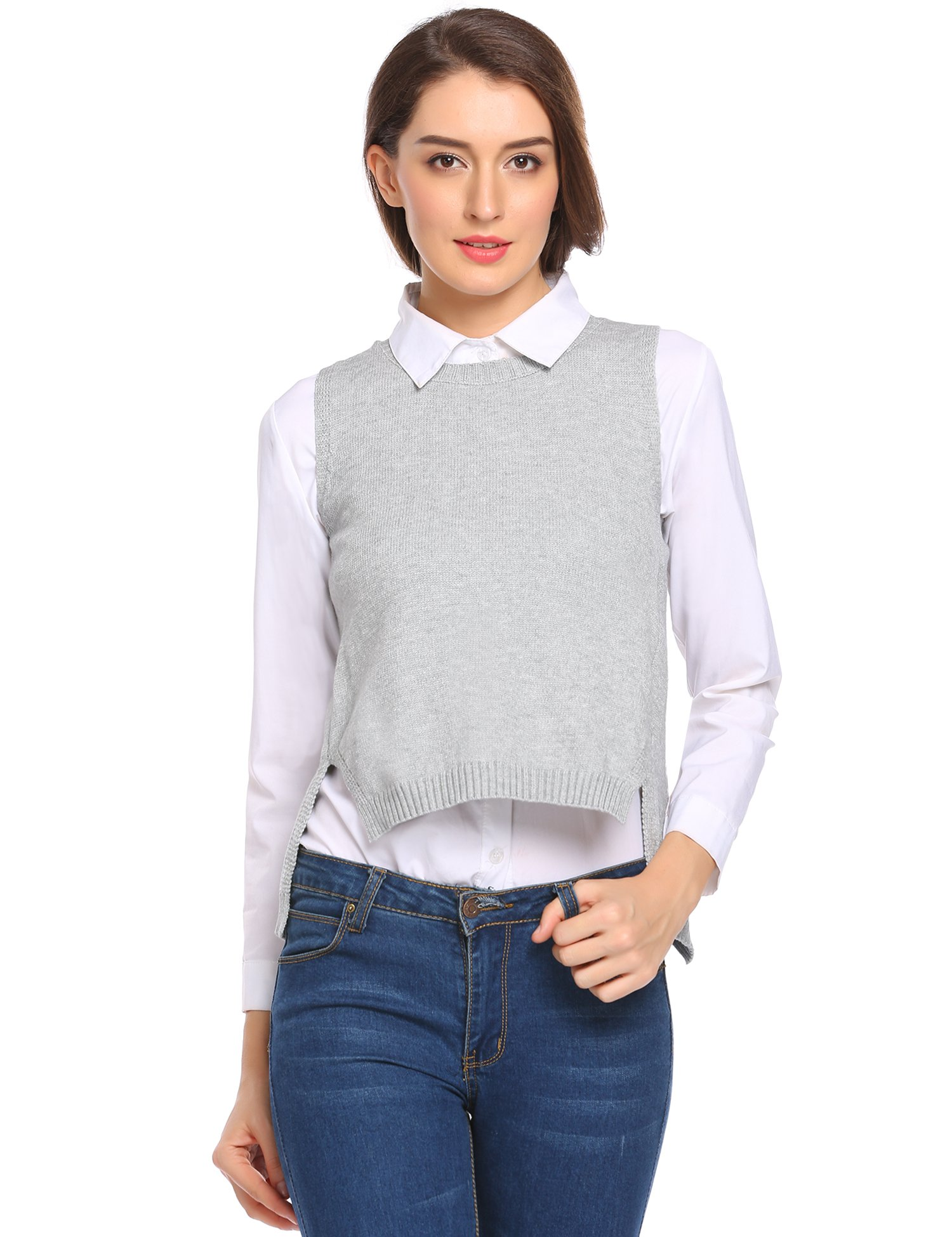 Zeagoo Women'S Thick Crewneck Knit Pullover Fashion College Sweater Vest Gray XL