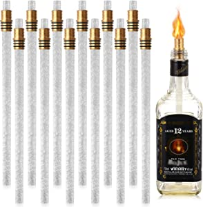 24 Pieces Wine Bottle Torch Hardware Kit Wine Bottle Torch Wick, Includes 12 Soft Fiberglass Replacement Wicks Torch, 12 Brass Torch Wick Holder with Washer for DIY Homemade Torch Decor (13.8 Inch)