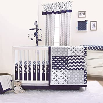 Amazoncom Nautical Whales And Anchors Navy 4 Piece Crib Bedding