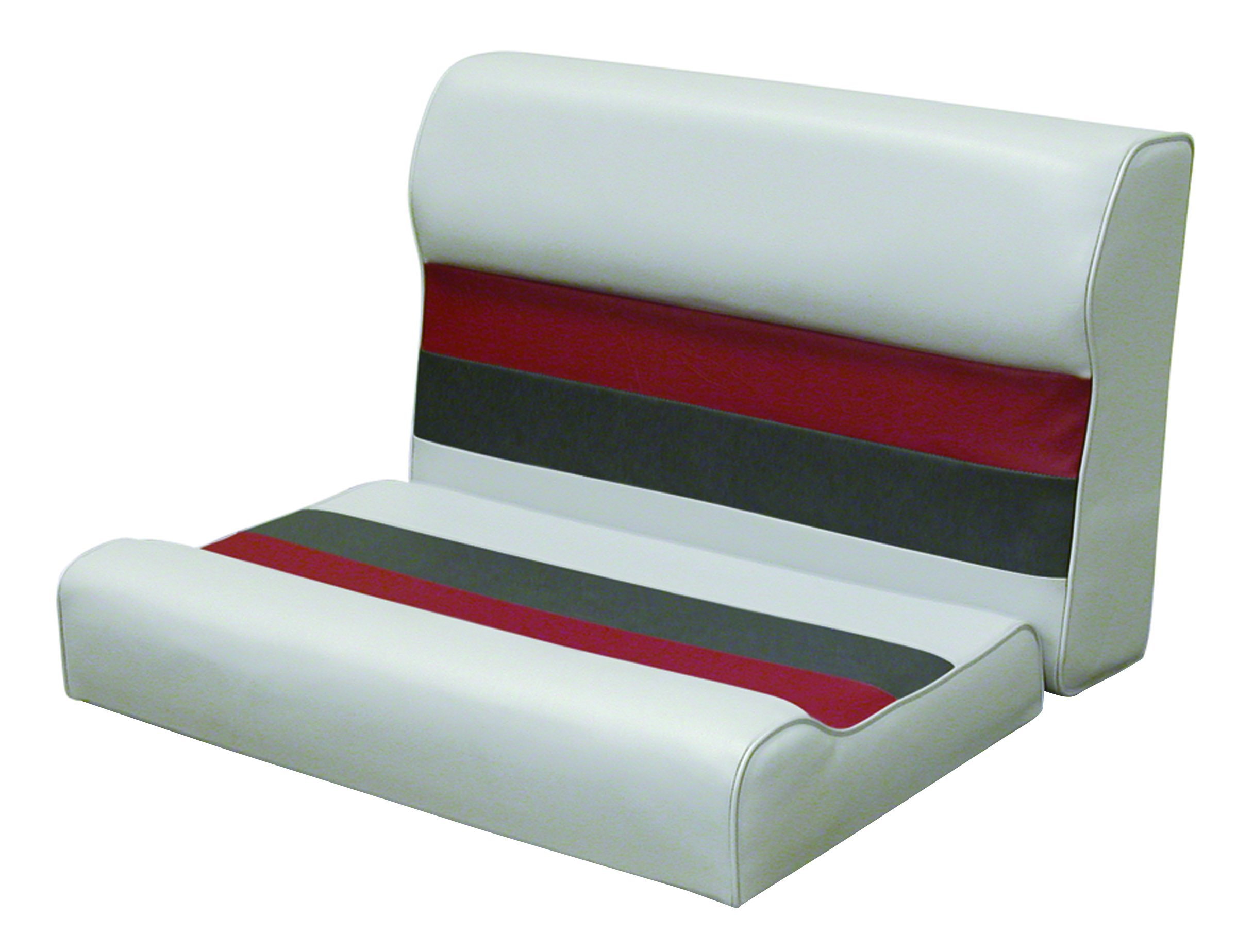 Wise 8WD95-1012 28'' Pontoon Bench Seat Cushion Only, Gray-Red-Charcoal; Requires #8WD95-1B-221 Base to Complete