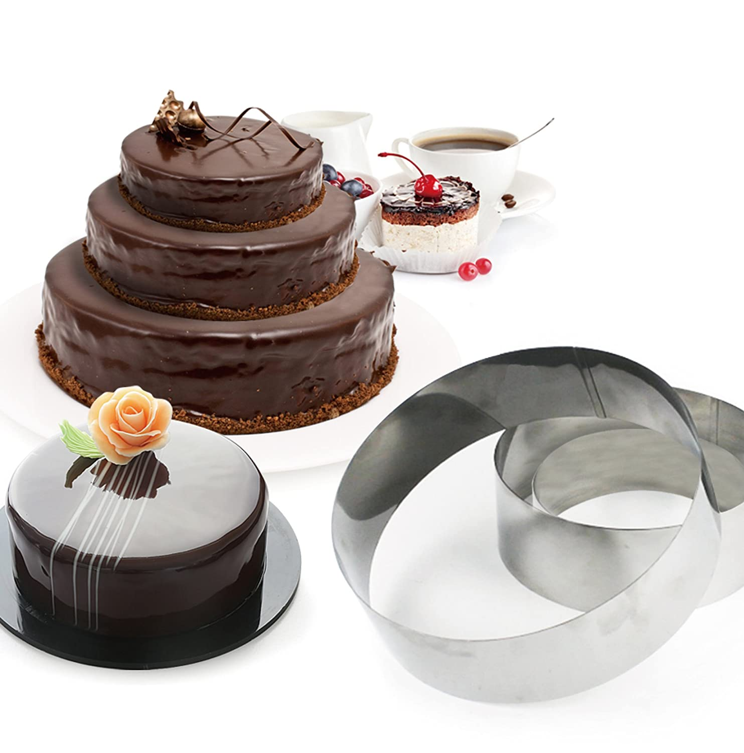 3 Tier Round Multilayer Anniversary Birthday Cake Baking Pans,Stainless Steel 3 Sizes Rings Round Molding Mousse Cake Rings(Round-shape,Set of 3)