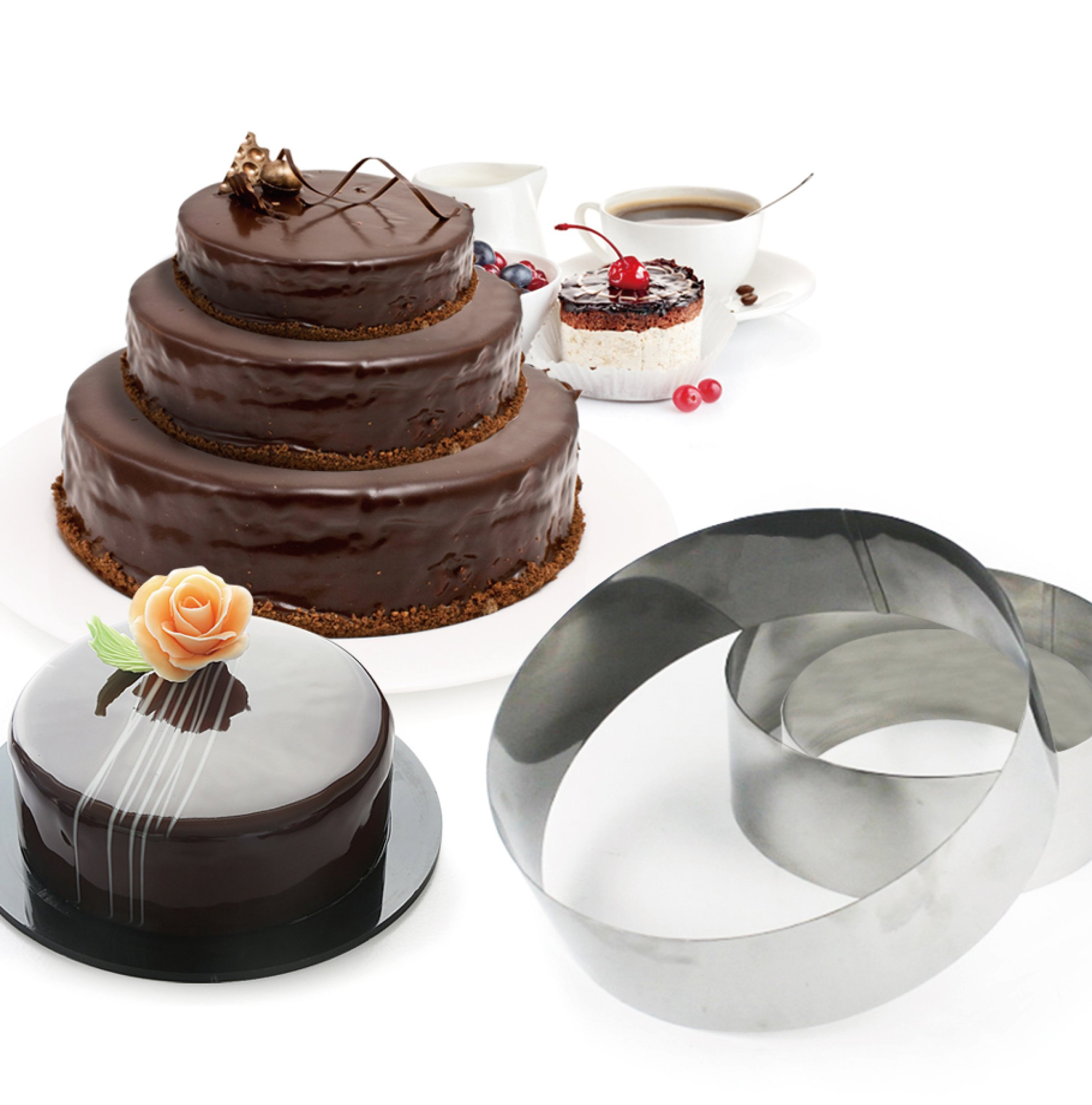 3 Tier Round Multilayer Anniversary Birthday Cake Baking Pans,Stainless Steel 3 Sizes Rings Round Molding Mousse Cake Rings(Round-shape,Set of 3) by FunWhale (Image #1)