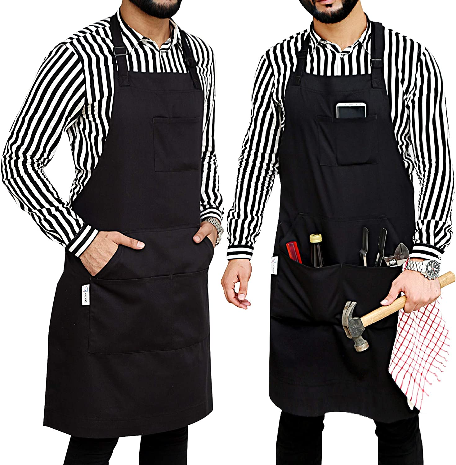 "Ruvanti Professional Grade Extra Durable Black Aprons for Men/Women Size M to XXL(Large 34""x28"") Cotton Enrich, Adjustable Neck Strap, Tool Pockets,Chef Apron/Barber Apron/Canvas Apron with 5 Pockets."